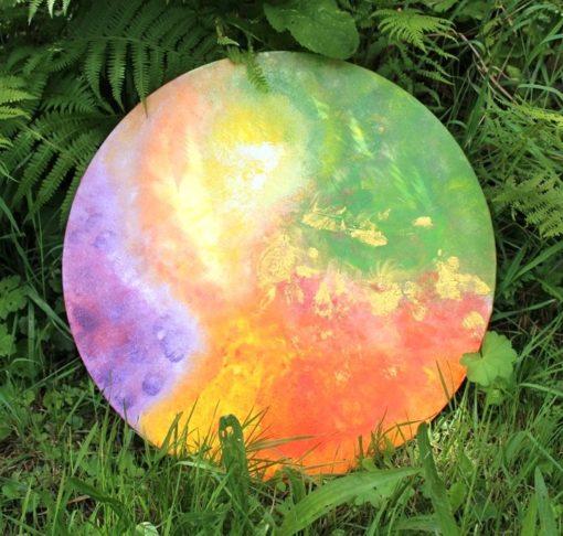 Spirituelle Kunst, intuitives Malen, Sylvia Harke, Flora Bowley, orange, grün, violett